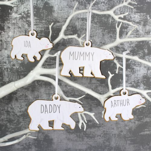 Personalised Polar Bear Christmas Tree Decorations Set Of 4 Family